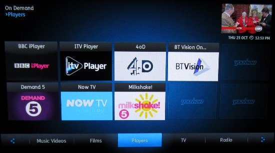 YouView Players Screen
